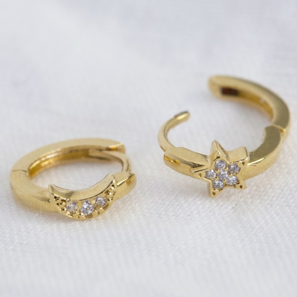 a8218c670a2d40 Gold Sterling Silver Moon And Star Huggie Hoop Earrings. by Lisa Angel .