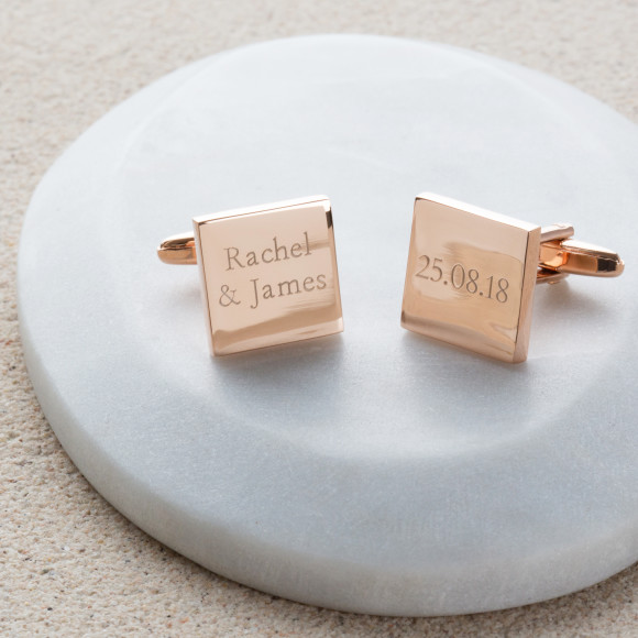 Personalised Rose Gold Wedding Cufflinks