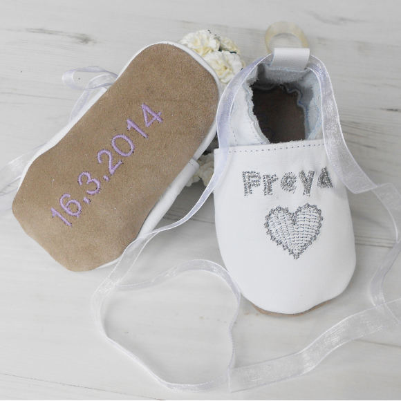 d2a8ce5258f4 Personalised heart christening shoes