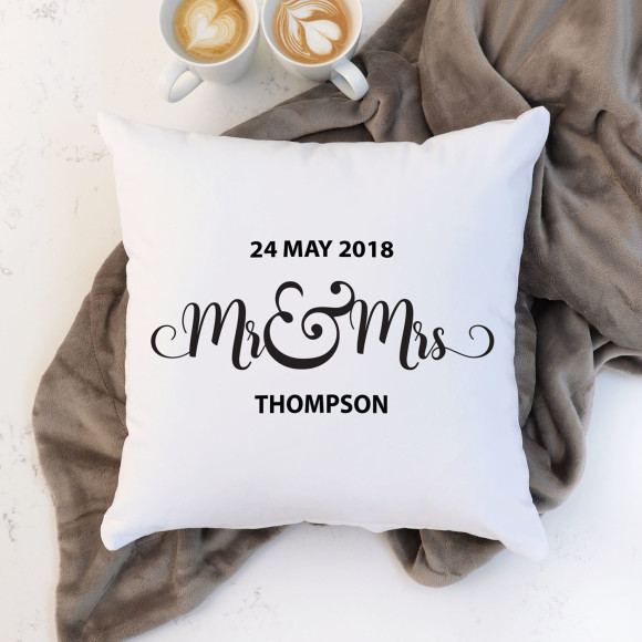Personalised Mr And Mrs Cushion & One Year Anniversary Gifts For Girlfriend | hardtofind.