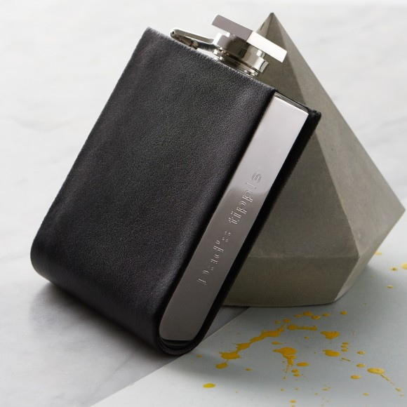 7d7b2330dfdc Personalised hip flask with leather detailing