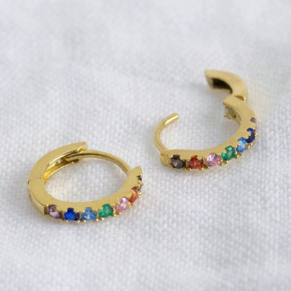66f2355692a789 Gold Sterling Silver Rainbow Huggie Hoop Earrings. by Lisa Angel
