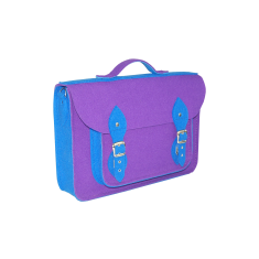 Violet blue felt school bag backpack with detachable straps