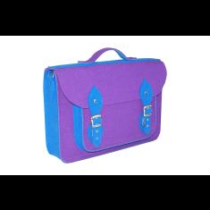 Violet blue felt school bag backpack with detachable straps