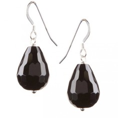 Onyx and silver briolette drop earrings