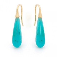 Yellow gold amazonite drop earrings