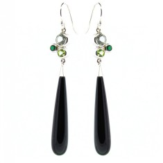 Sterling silver bubble onyx drop earrings