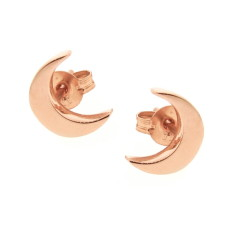 Gold baby moon stud earrings