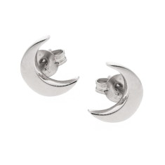 Sterling silver baby moon stud earrings crescent moon studs
