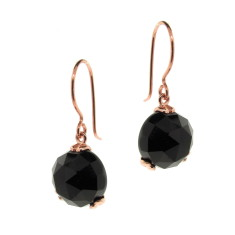 Rose gold Era black onyx drop earrings