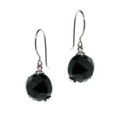 Silver Era onyx drop earrings