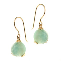 Yellow gold Era chalcedony drop earrings