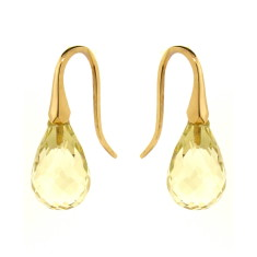 Yellow or rose gold lemon quartz shortdrop earrings