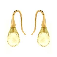Yellow or rose gold lemon quartz shortdrop earrings