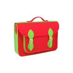 Green and red felt school backpack with detachable straps
