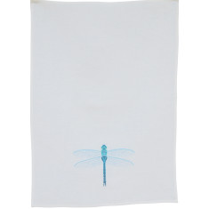 Blue dragonfly embroidered tea towel