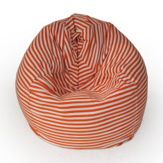 Glammclassic beanbag cover in orange & white stripe