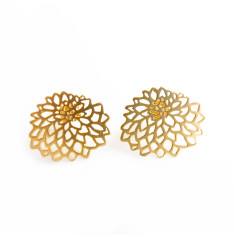Gold-finished & sterling silver chrysanthemum studs