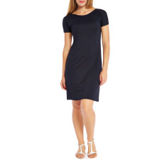 Women's skipper dress in navy and black micro stripes