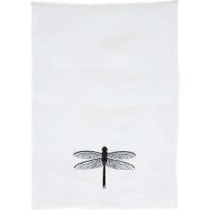 Black dragonfly embroidered tea towel