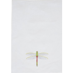 Green dragonfly embroidered tea towel
