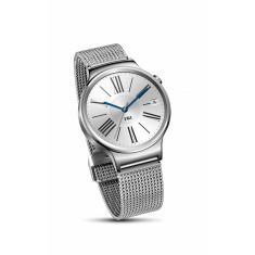 Huawei smart watch in silver with silver mesh band