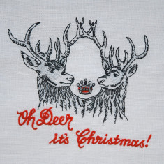 Embroidered oh deer it's Christmas tea towel