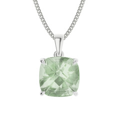 Green amethyst sterling silver necklace
