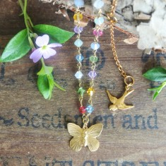 Alicia gold butterfly and Swarovski crystal necklace