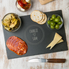 Personalised couple's names slate chopping board