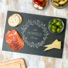 Personalised Family Mistletoe Slate Chopping Board