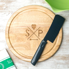 Personalised hipster logo couple's chopping board