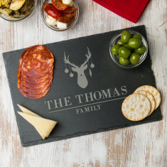 Personalised Reindeer Slate Family Chopping Board