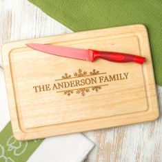Personalised snowflake style family chopping board