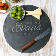 Personalised 'Mr And Mrs' Wedding Round Slate Board