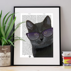 Black cat with sunglasses book print