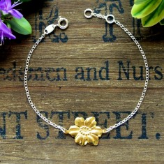 Flora silver and gold flower bracelet