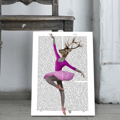 Ballet deer in pink book print