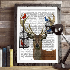 Deer and bird cages book print