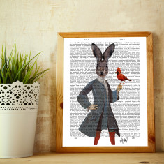 Rabbit and bird book print