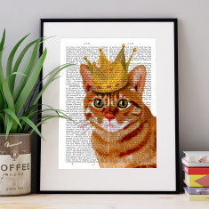 Ginger cat with crown portrait book print