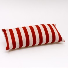 Solid stripe cushion cover in red & off white