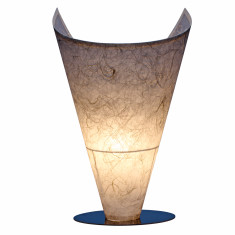 Handcrafted white tesuki table lamp
