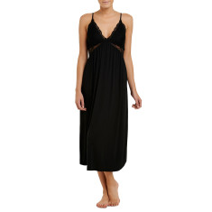 Long modal butterfly nightdress in black