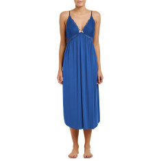 Long modal butterfly nightdress in cornflower blue