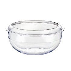 Unbreakable salad bowl and black lid