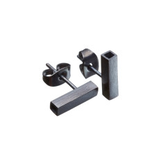 Contemporary square chenier studs in black or silver