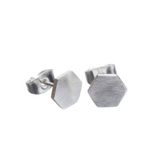 Geometric hexagon and triangle silver stud earrings (various designs)
