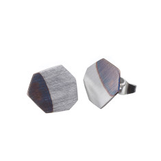 Geometric black and silver stud earrings (various designs)