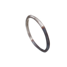Fine two-tone silver ring with rough finish